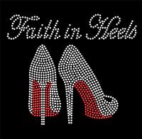 Faith in Heels Stiletto RED Rhinestone Transfer Iron On