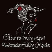 Charmingly And Wonderfully Made Lady Girl Rhinestone Transfer