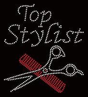 Top Stylist Comb Scissor Hair Rhinestone Transfer