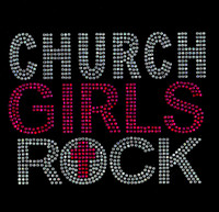 Church Girls rock New Fuchsia Hot Pink Religious Rhinestone Transfer