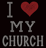 I Love My Church Religious Rhinestone Transfer
