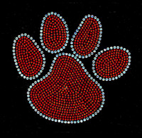 "6.9"" Paw ORANGE Rhinestone Transfer Iron On - DIY"