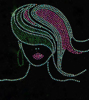 (Green Pink) AKA Girl Straight hair Rhinestone Transfer