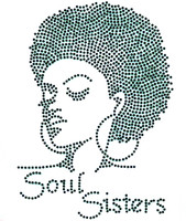(BLACK) Soul Sisters Afro girl Lady Rhinestone Transfer