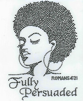 (BLACK) Fully Persuaded Afro girl Lady Rhinestone Transfer