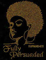 (GOLDEN) Fully Persuaded Afro girl Lady Rhinestone Transfer