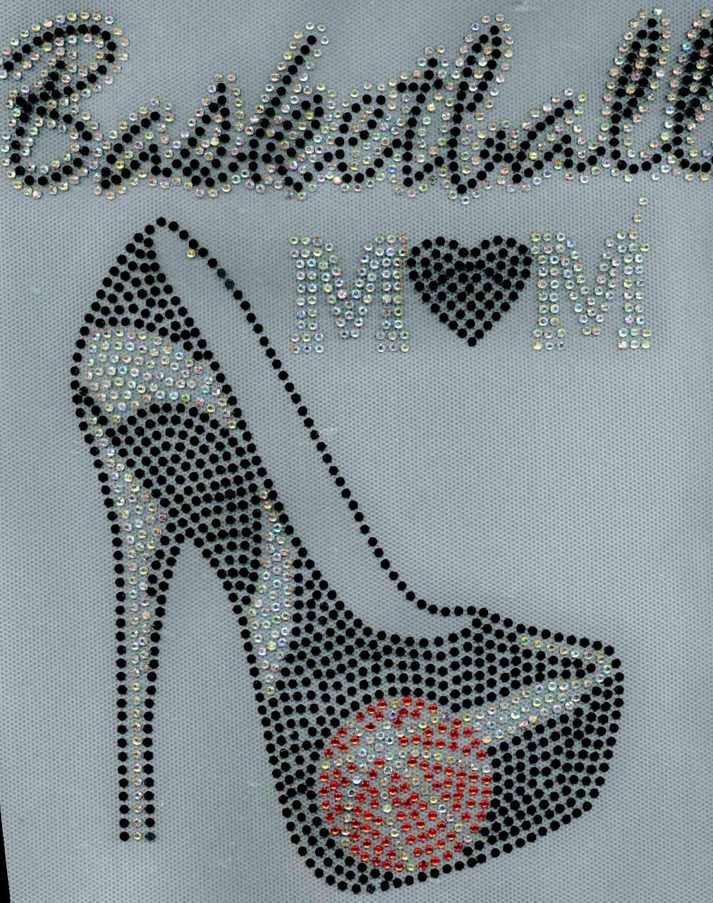 Basketball Mom Heel Stiletto Black Rhinestone Transfer