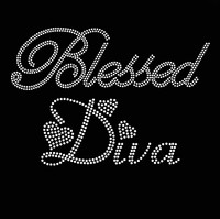Blessed Diva (Text) CLEAR Religious Rhinestone Transfer