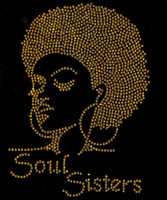 (GOLDEN) Soul Sisters Afro girl Lady Rhinestone Transfer