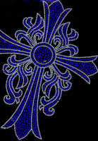 Cross Leaf Cobalt Blue Religious Rhinestone transfer