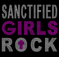 Sanctified Girls Rock (Fuchsia Hot Pink) Religious Rhinestone Transfer