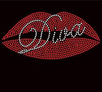 Lips Diva Rhinestone Transfer Iron On