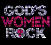 God's Women Rock (Clear Fuchsia) Rhinestone Transfer