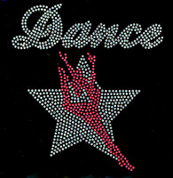 Dance Girl over Star Silhouette Rhinestone Transfer Iron On