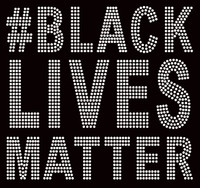 "#Black Lives Matter (Large 8.5"") Bold Text Afro Rhinestone Transfer"