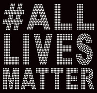 #ALL Lives Matter Bold letters Afro Rhinestone Transfer