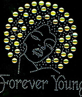 Forever Young Afro Lady Girl (GOLDEN Topaz) Rhinestone Transfer