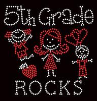 5th Grade Rocks (2 colors) Kids School Rhinestone Transfer