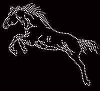 Horse Jumping Rhinestone Transfer Iron On