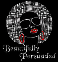 Beautifully Persuaded Afro Girl CLEAR Rhinestone Transfer