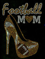 Football Mom Heel Stiletto (Golden) Heart Rhinestone Transfer