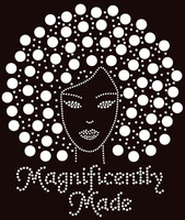 Magnificently Made Afro Girl (Silver) Rhinestone Transfer