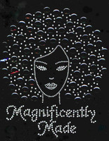 Magnificently Made Afro Girl (Black) Rhinestone Transfer