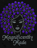 Magnificently Made Afro Girl (Purple) Rhinestone Transfer