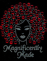 Magnificently Made Afro Girl (Red) Rhinestone Transfer