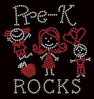 Pre-K Rocks (2 colors) Kids School Rhinestone Transfer