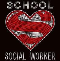 Super School Social Worker Rhinestone Transfer
