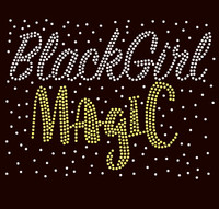 (Text) Black Girl Magic Splatter (CLEAR GOLD) Rhinestone Transfer
