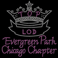 (Crown in Clear, Text in Light Pink) TOP LOD Evergreen Park Chicago Chapter - Custom Order Rhinestone transfer