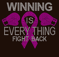 (Fuchsia) Winning is everything Fight Back 2 Gloves Ribbon Breast Cancer Awareness Rhinestone Transfer
