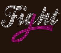 (Fuchsia) Fight Text Ribbon Cancer Awareness Rhinestone Transfer