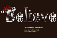 Believe with Cap Christmas Rhinestone Transfer