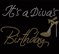 It's a Diva's Birthday (Golden) Heel Stiletto Rhinestone Transfer