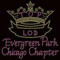 (Crown in Gold, Text in Light Pink) TOP LOD Evergreen Park Chicago Chapter - Custom Order Rhinestone transfer