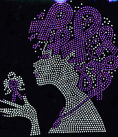 Afro Lady (Purple Ribbon in hair) Lupus cancer awareness Rhinestone Transfer