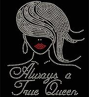 Always a True Queen Afro Girl Straight hair Rhinestone Transfer