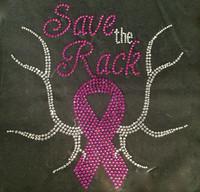 (Fuchsia) Save the Rack Breast Cancer Ribbon Awareness Rhinestone Transfer