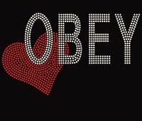 Obey with Heart - Custom Order Rhinestone transfer