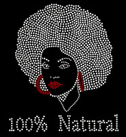 100% Natural Afro Girl (Red Lip) Rhinestone Transfer