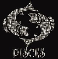 Pisces Zodiac Horoscope Astrology sign Rhinestone Transfer
