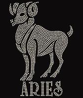 Aries Zodiac Horoscope Astrology sign Rhinestone Transfer