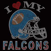I Love my Falcons Helmet Atlanta - Custom Order Super Bowl Rhinestone transfer