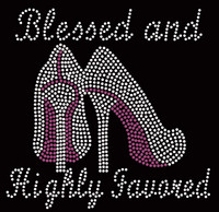 (Purple Heel) Blessed and Highly Favored (Purple) Religious Rhinestone Transfer