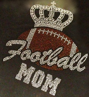 Football Mom Crown Rhinestone Transfer