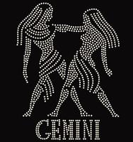 Gemini Zodiac Horoscope Astrology sign Rhinestone Transfer