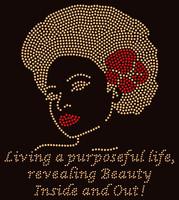 Living a Purposeful life (Golden & Red) Afro Girl Rhinestone Transfer